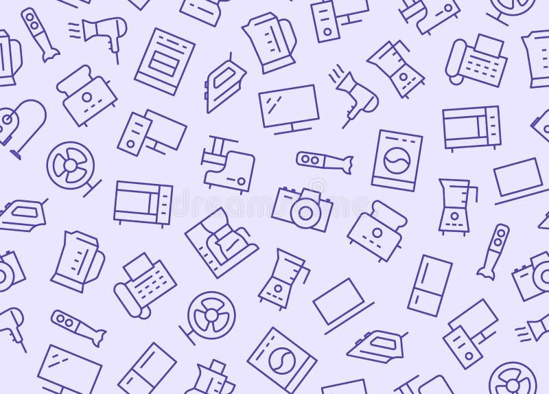Hushållanordningar, sömlös modell för elektroniklager med linjen symbol Stil f?r vektorillustrationl?genhet Inklusive symboler royaltyfri illustrationer