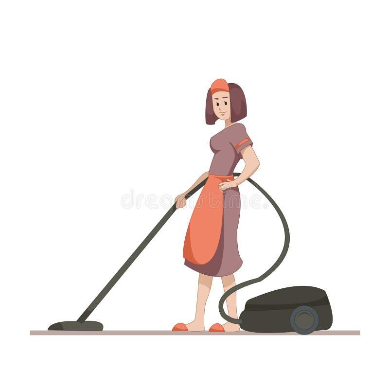 Hushållerskan eller hemmafrun gör hem- lokalvård med en dammsugare Plant tecken som isoleras på vit bakgrund vektor stock illustrationer