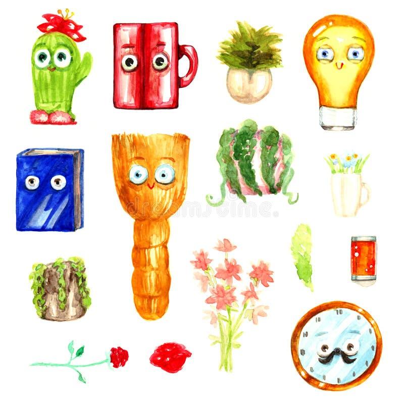 Hushållet objektlightbulb somkvasten rånar kaktuns som ler den positiva färgrika vattenfärgen för ` s för barn för teckentecknad  royaltyfri illustrationer