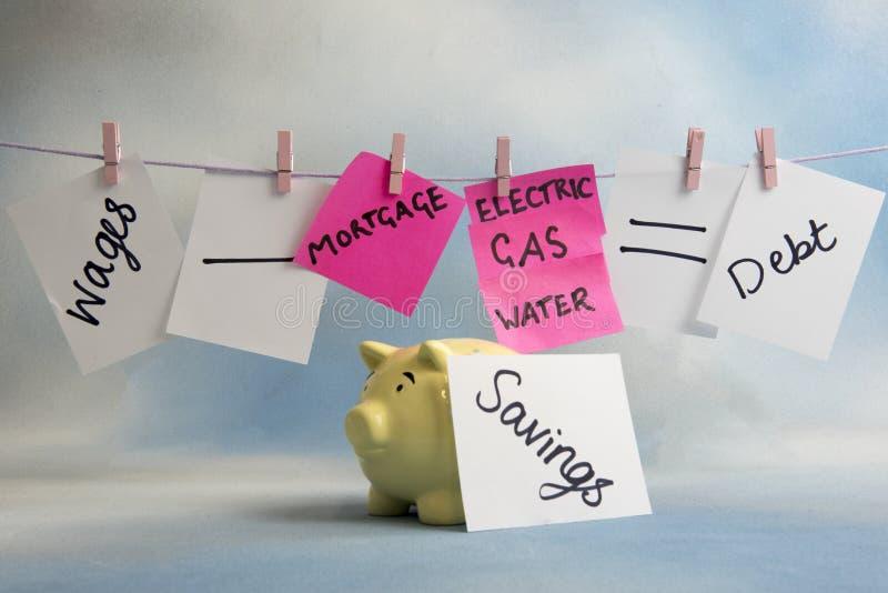 Hushållkostnaderlikställande inklusive räkningar, besparingar och timpenningar royaltyfria foton