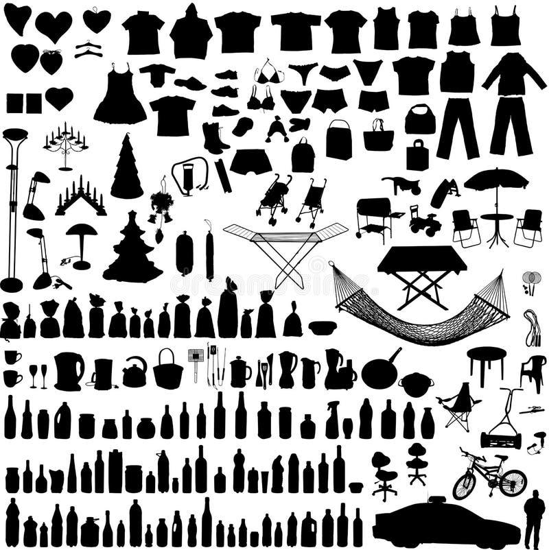 hushållobjekt ställde in vektorn royaltyfri illustrationer