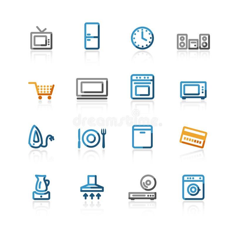 hushållsymboler för kontur e shoppar stock illustrationer