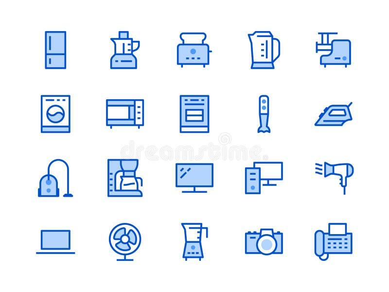 Hush?llanordningar, elektroniklagerlinje symbol Stil f?r vektorillustrationl?genhet Inklusive symboler som mikrov?gugnen stock illustrationer
