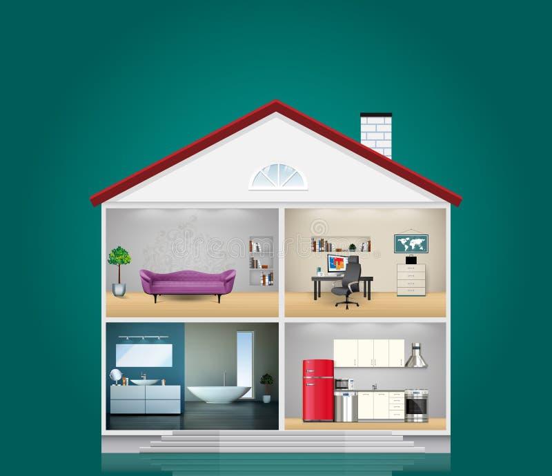 Husinre - kök, badrum, vardagsrum och kontor - som är hem- stock illustrationer