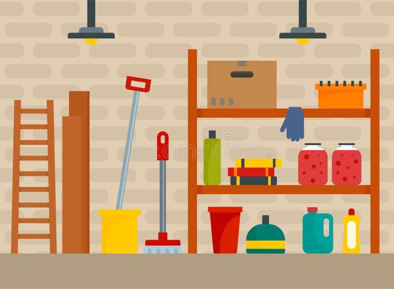 Huskällarebakgrund, lägenhetstil stock illustrationer