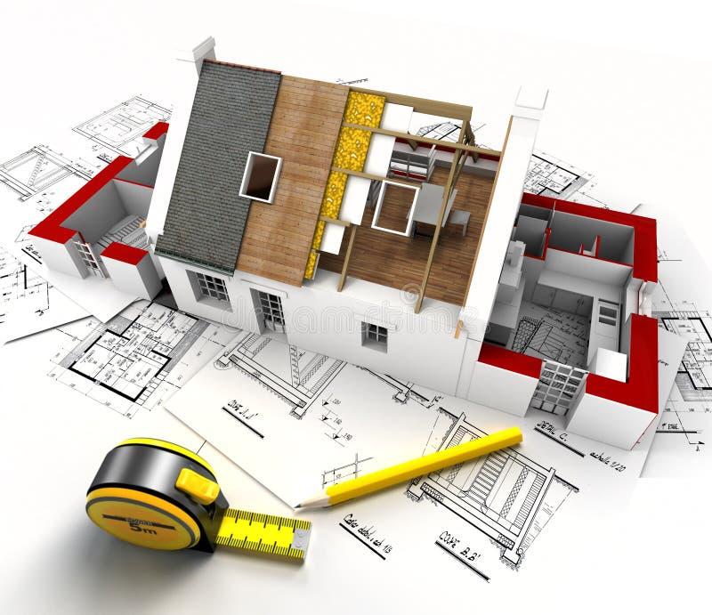 Huskonstruktionsöverblick royaltyfri illustrationer
