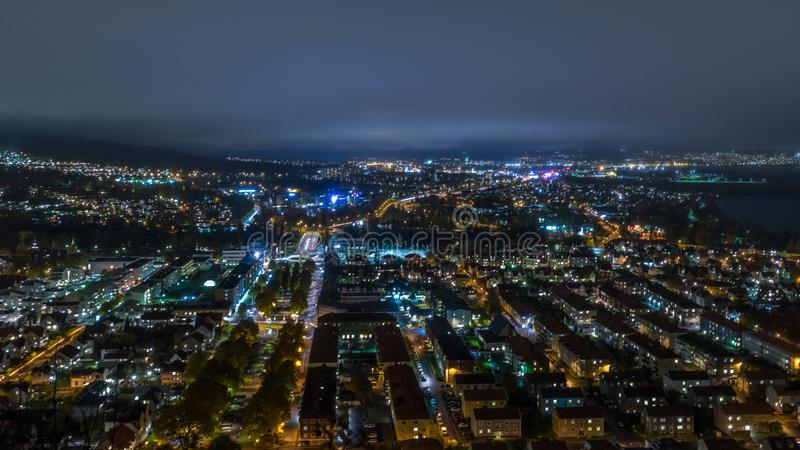 Huskvarna night panorama. Huskvarna cityscape by night, Sweden stock image