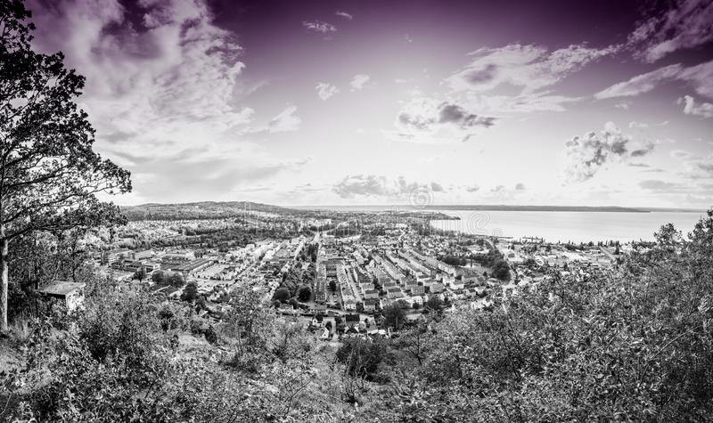 Huskvarna Sweden. The City of Jonkoping from Huskvarna  lookout in Sweden royalty free stock photography