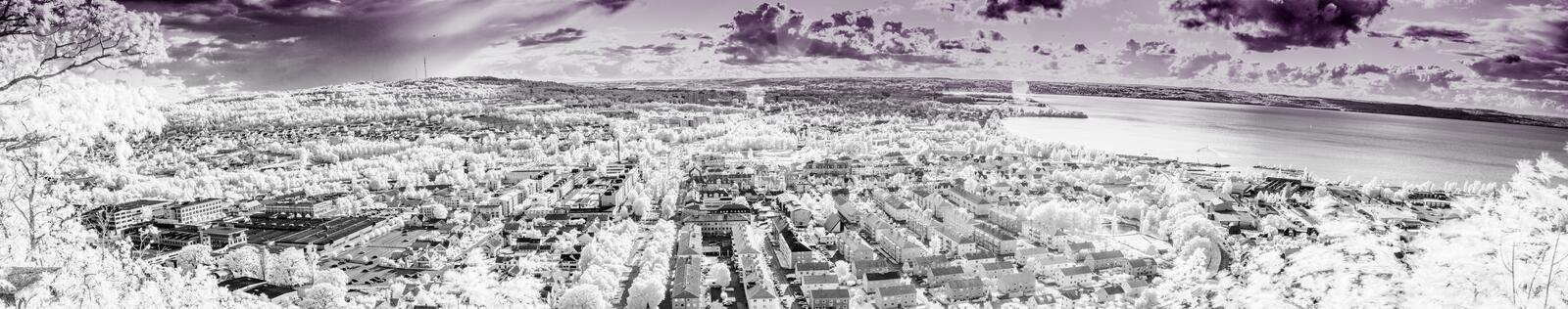 Huskvarna Sweden. The City of Jonkoping from Huskvarna  lookout in Sweden in infrared an ultraviolet stock image