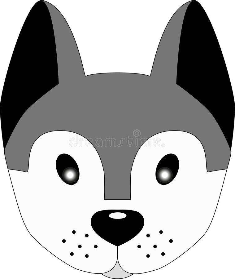 Husky dog. Cute face of a gray dog with big ears. Dog head illustration for children. Pretty puppy. vector illustration