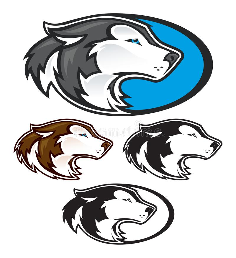 Husky Head Mascots for Athletic Teams. A husky head mascot for high school or college athletic teams or recreational organizations royalty free illustration