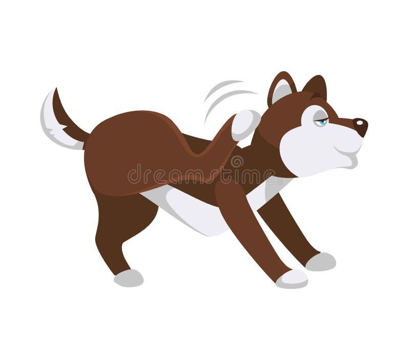 Husky psa narysy za ucho z tylni nogą royalty ilustracja