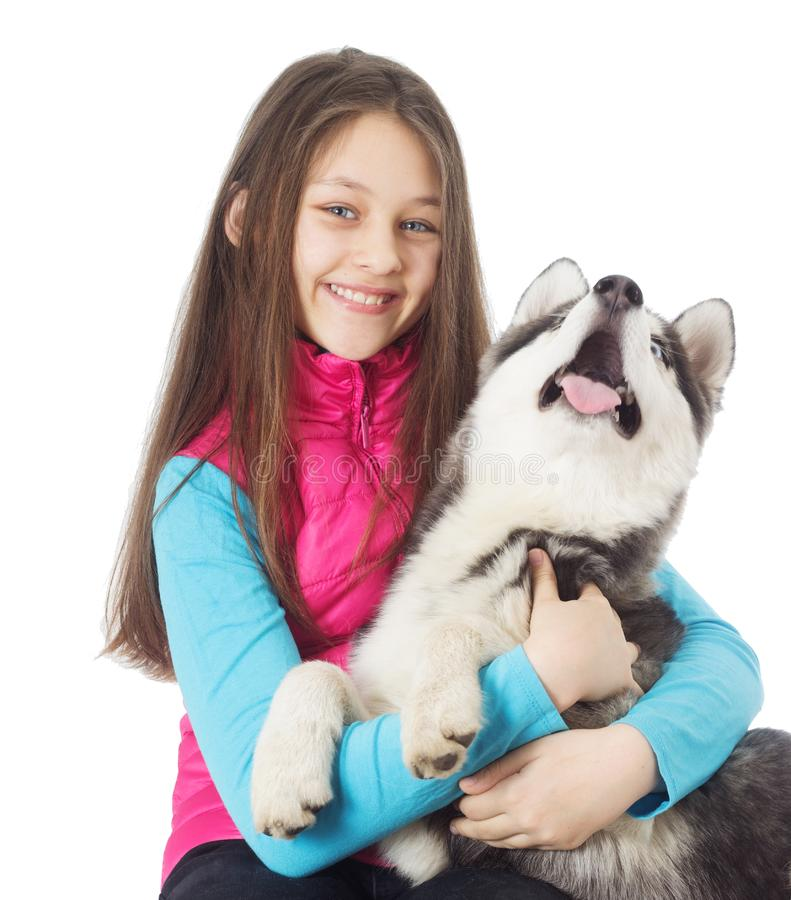 husky siberian för flicka fotografering för bildbyråer