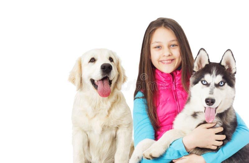 husky siberian för flicka arkivbild