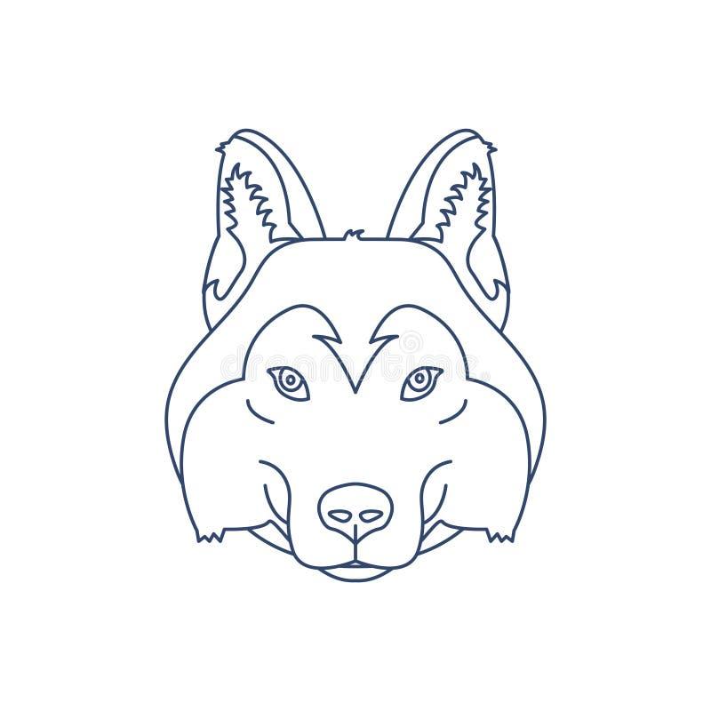 Husky or wolf head icon. Flat line illustration. Husky or wolf head icon. Flat line illustration royalty free illustration