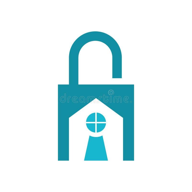Huslåssäkerhet Logo Vector royaltyfri illustrationer