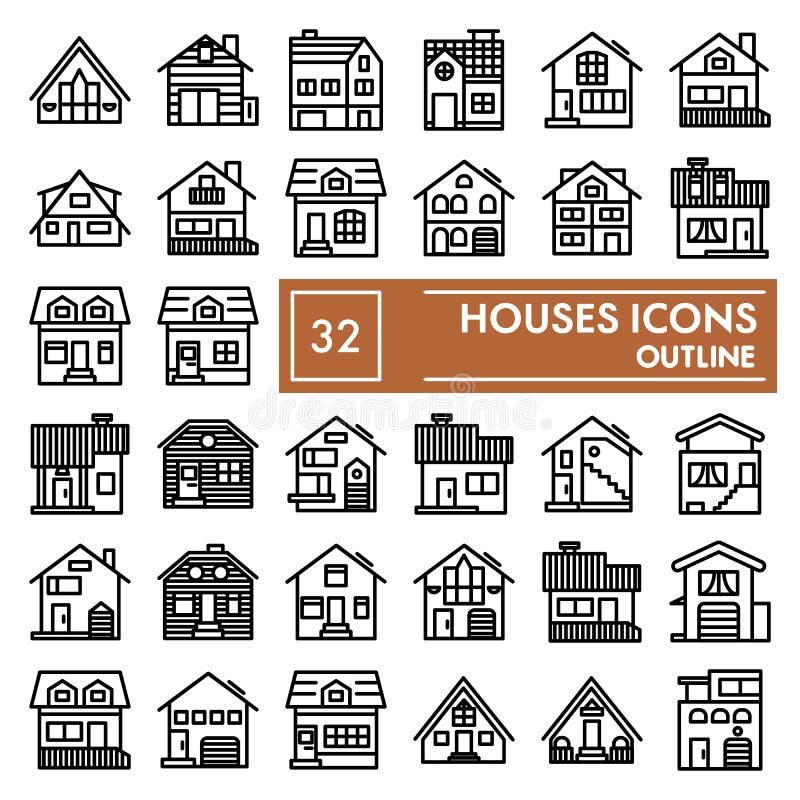 Huslinjen symbolsuppsättningen, stugasymboler samlingen, vektor skissar, logoillustrationer, linjära pictograms för hem- tecken stock illustrationer