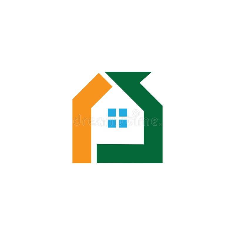 Huslogoaffär Logo Contruction royaltyfri illustrationer