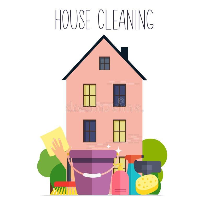 Huslokalvård Affischmall för huslokalvårdservice med royaltyfri illustrationer