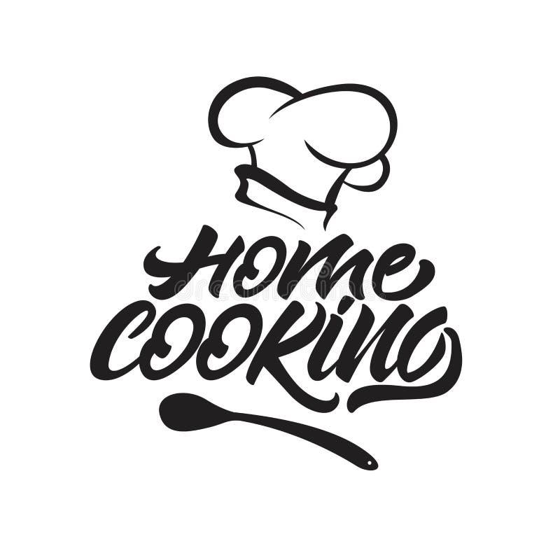 Husmanskost som märker logo med kocks hatt ocks? vektor f?r coreldrawillustration vektor illustrationer