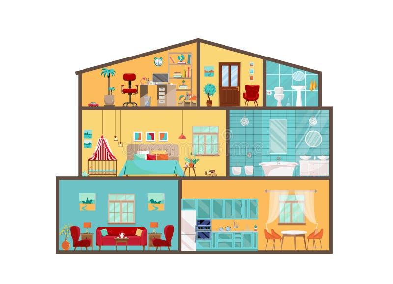 Husmodell från inre Detaljerade inre med möblemang och dekoren i plan vektorstil Stort hus i snitt Stugajackett med stock illustrationer
