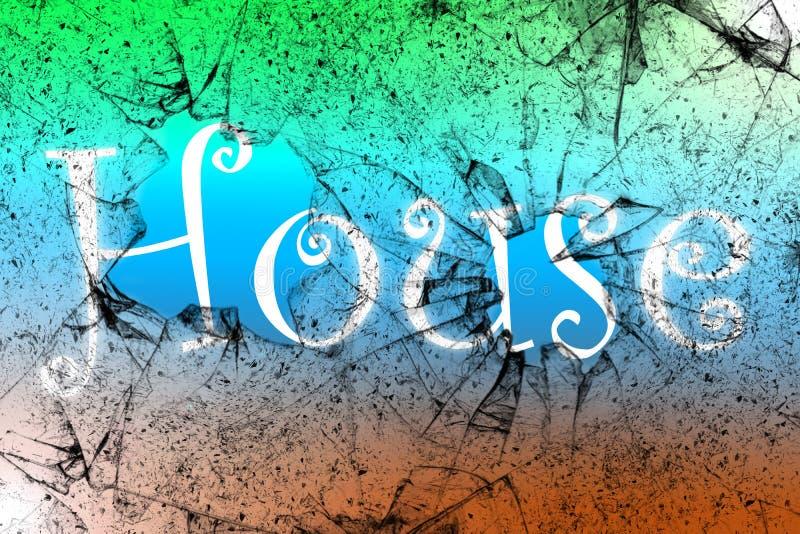 Husmusikbegrepp med husordet som ?r skriftligt bak det brutna exponeringsglaset arkivfoto