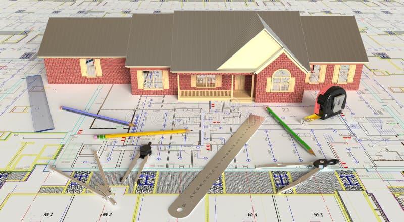 Husorientering och arkitektoniska teckningar arkivbilder