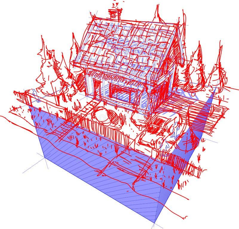 Husramen med den drog handen skissar av småhus vektor illustrationer