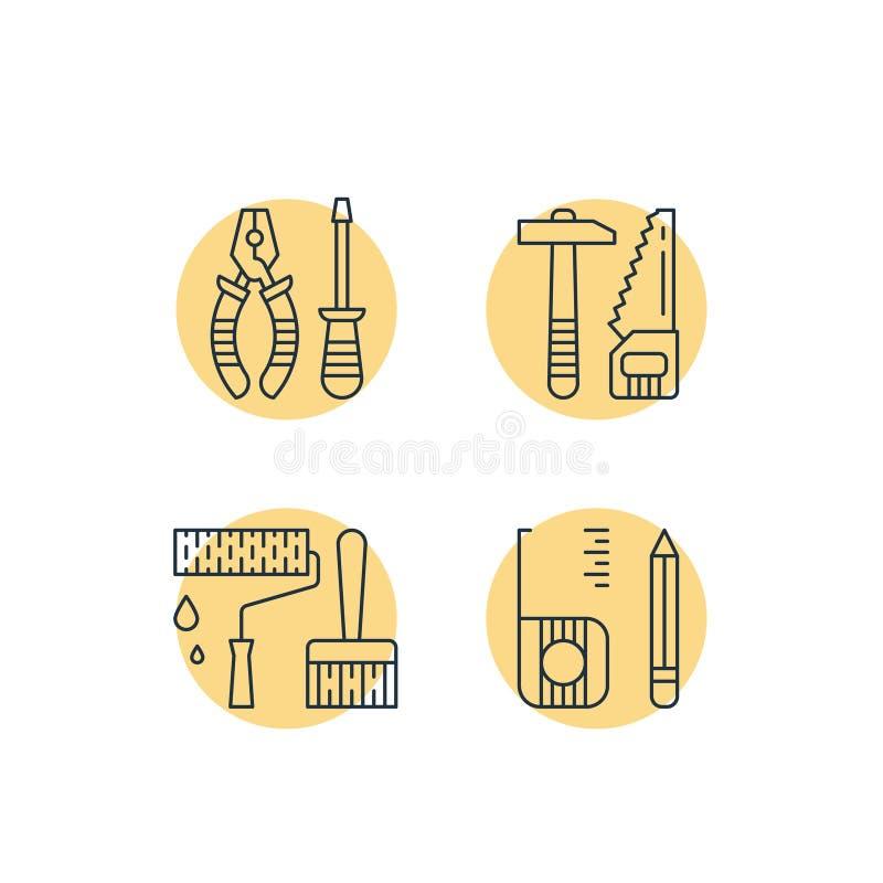 Husreparationshjälpmedel, hemförbättringarbeten, renoveringutrustning, hammaresåg, plattång och skruvmejsel, rullmålarfärg och bo stock illustrationer