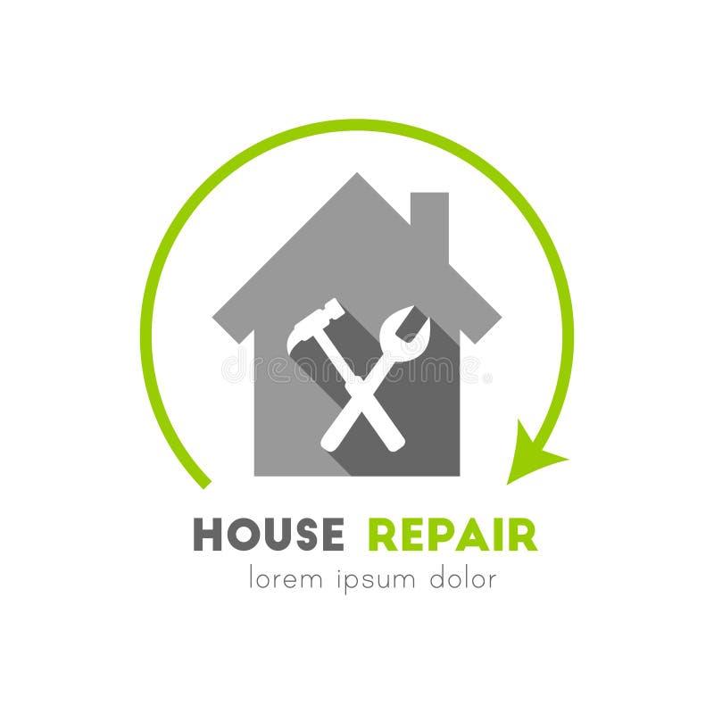 Husreparationslogo med hammaren och skiftnyckeln stock illustrationer