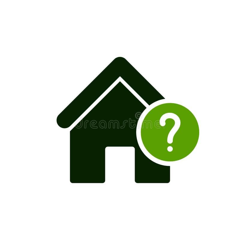 Hussymbol med frågefläcken Inhysa symbolen och hjälp, hur till, information, frågasymbol vektor illustrationer