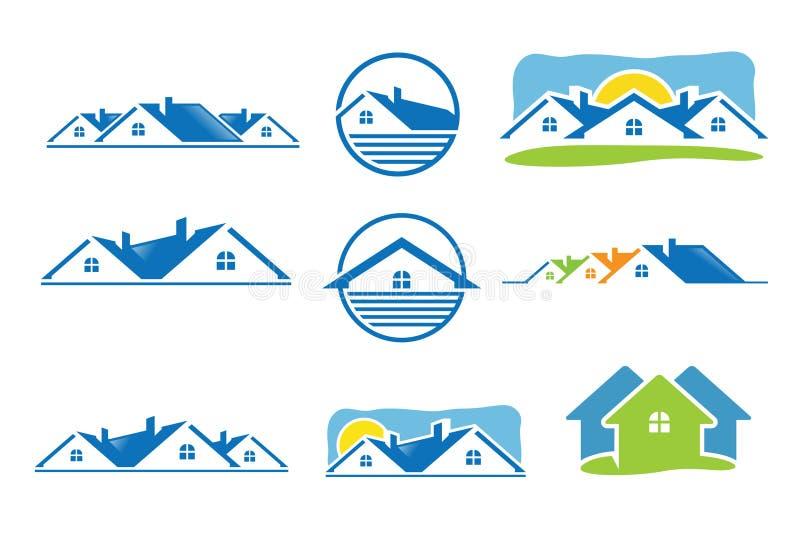 Hussymbol och fastighetlogo vektor illustrationer