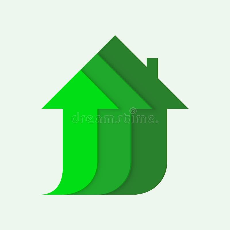 Hussymbolen med pilen investerar upp affärsförsäljning royaltyfri illustrationer