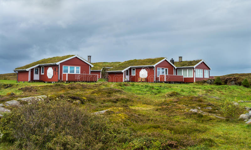 Hustadvika Guesthouse situated near the Atlantic Ocean road. Hustadvika Guesthouse. Set in peaceful surroundings by the Atlantic Ocean, this guesthouse is found stock photo