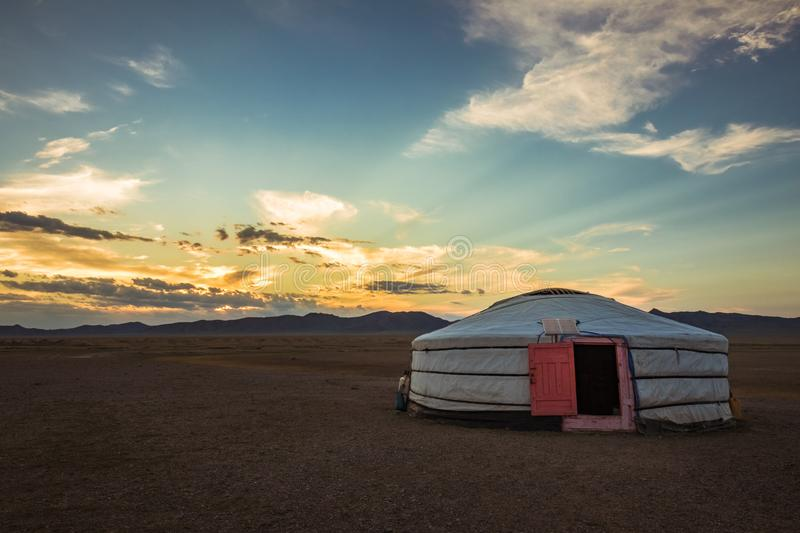 Sunset on a traditional mongolian yurt. In the Hustai National Park of Mongolia: Sunset on a traditional mongolian yurt royalty free stock image