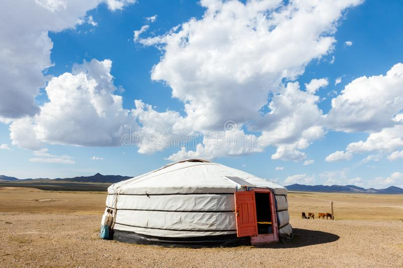 A traditional mongolian yurt. In the Hustai National Park of Mongolia: A traditional mongolian yurt royalty free stock photo