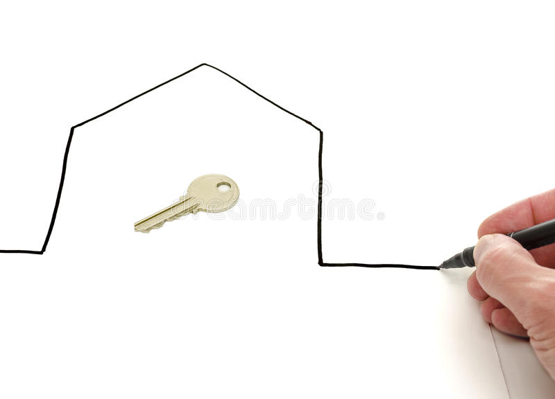 Hustangent i ett hand dragit hus arkivfoton