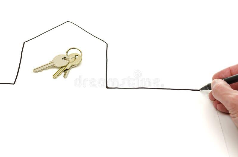 Hustangenter i ett hand dragit hus arkivfoton