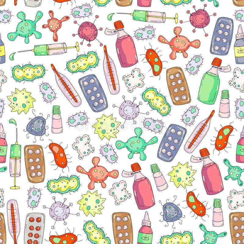 Husten, Pillen, Grippe, Grippe, Krankheit Vektormuster mit Gekritzelikonen Gesundheitspflege und Medizin stock abbildung