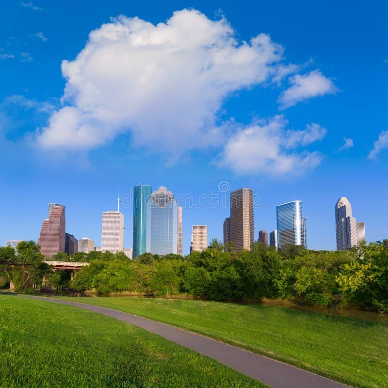 Huston linia horyzontu od Eleanor Tinsley parka Teksas USA obrazy stock