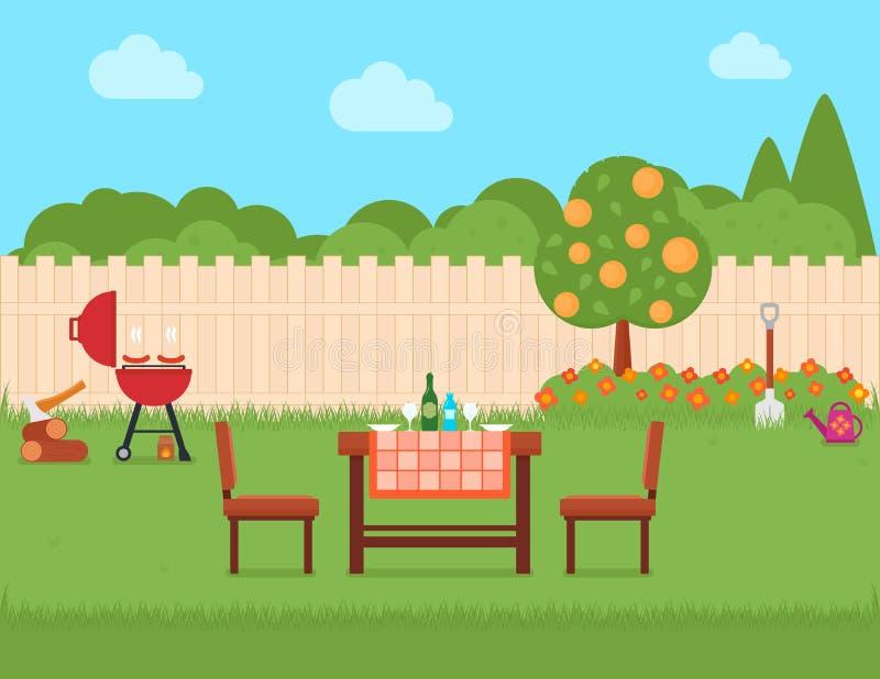 Husträdgård med gallret och trädgården stock illustrationer