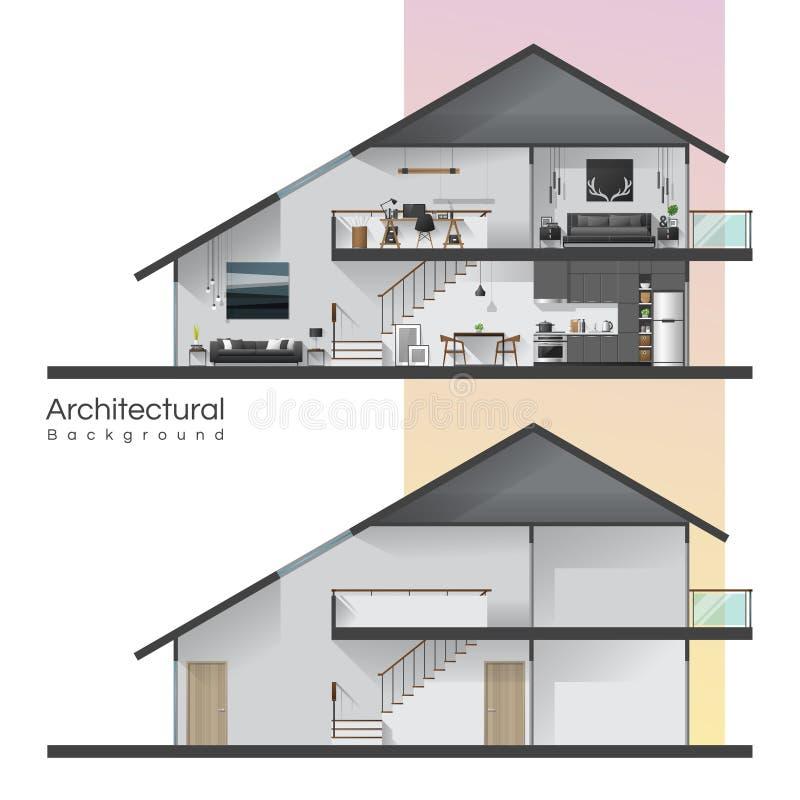 Hustvärsnittet med möblemang och tömmer huset stock illustrationer