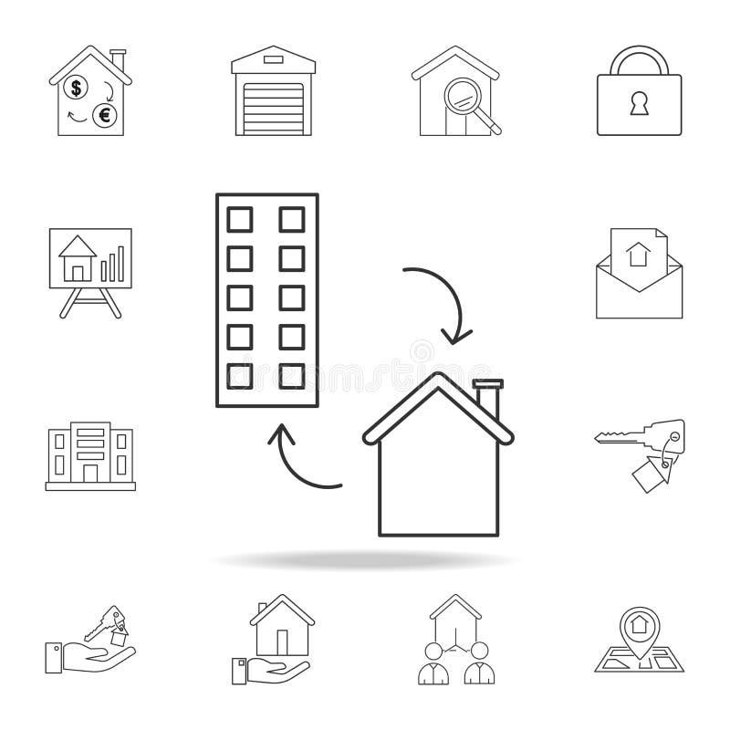 Husutbytessymbol Uppsättning av symboler för försäljningsfastighetbeståndsdel Högvärdig kvalitets- grafisk design Tecken symbol f vektor illustrationer