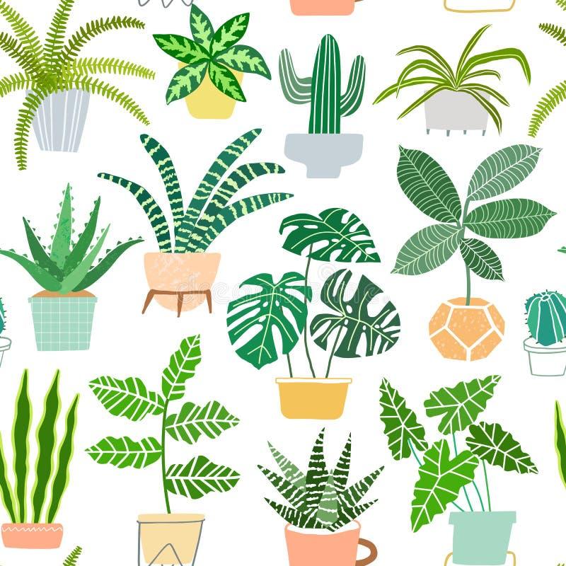 Husväxter i sömlös modell för krukavektor Houseplantbakgrund stock illustrationer