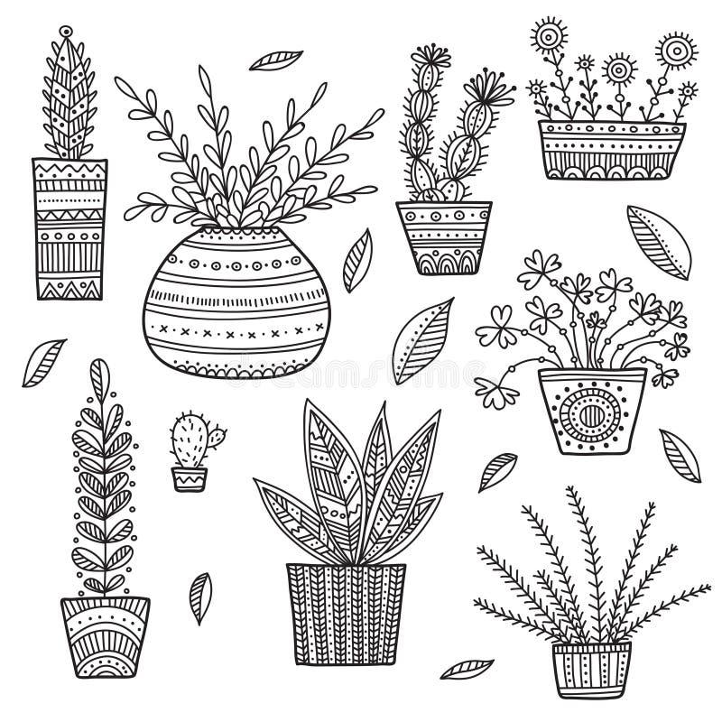 Husväxtuppsättning stock illustrationer