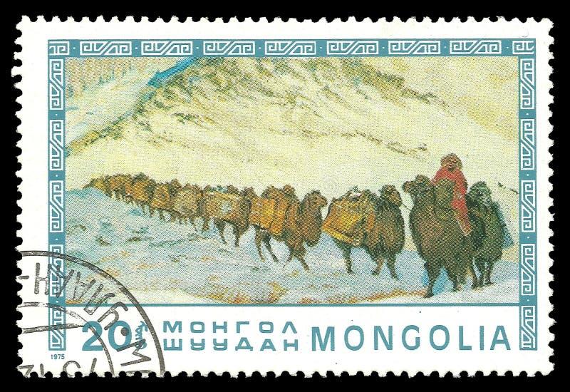 Husvagn av Bactrian kamel arkivbild