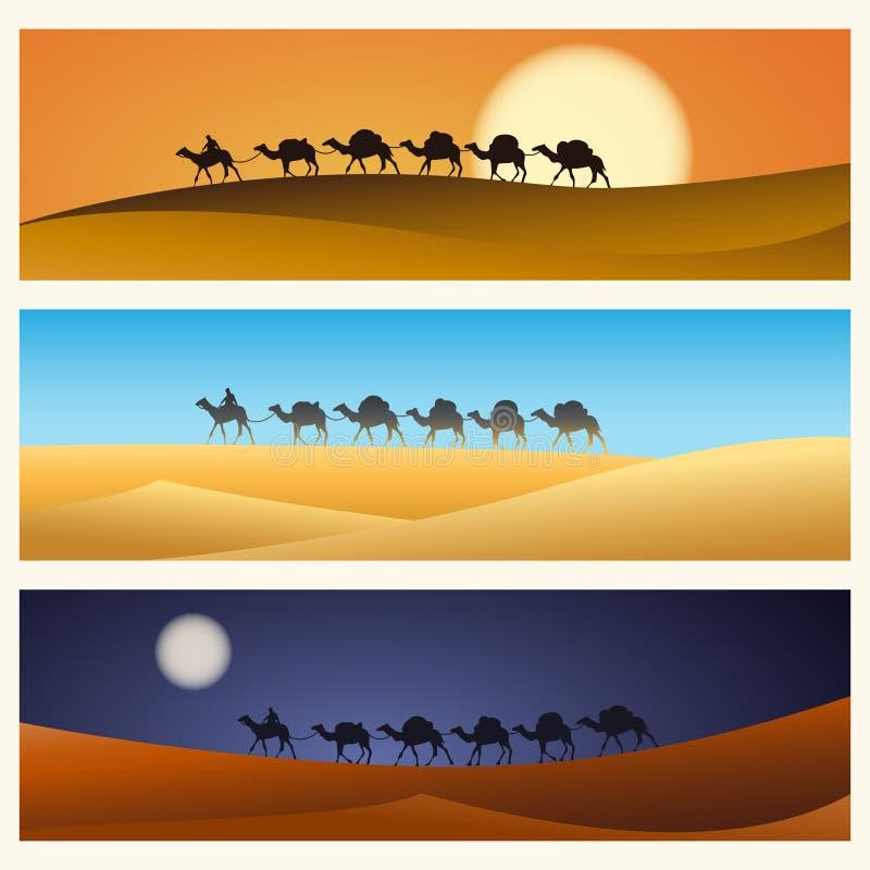 Husvagn av kamel i öken royaltyfri illustrationer