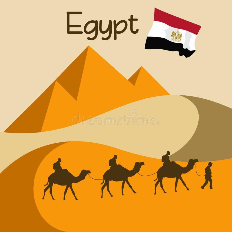 Husvagn av kamel i sanddyn i Egypten nära stora pyramider vektor illustrationer