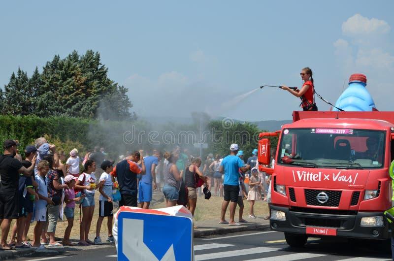 Husvagn av Tour de France arkivfoton
