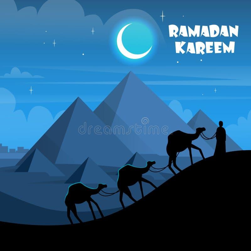 Husvagn för kamel för ökennattEgypten pyramider vektor illustrationer